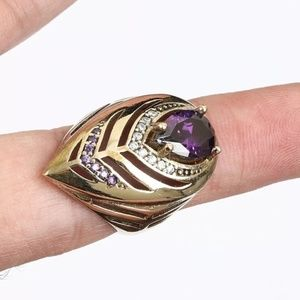 Feather dome Amethyst ring 7.5